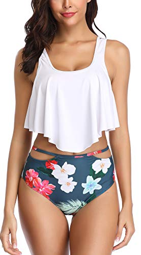 B2prity Women Swimsuits Two Pieces Bathing Suits Ruffled Printed Monokini High Waisted Tankini Set (L(12-14), ()