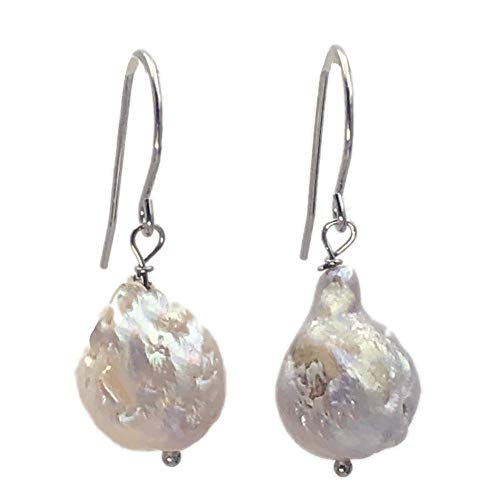 Baroque Freshwater Pearl - 14mm Very Baroque Cultured Freshwater Pearl Tear Drop Earrings