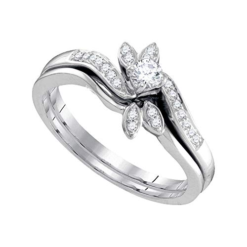 Diamond Leaf Floral Engagement Ring + Wedding Band Bridal Set 1/4ct 10k White Gold ()