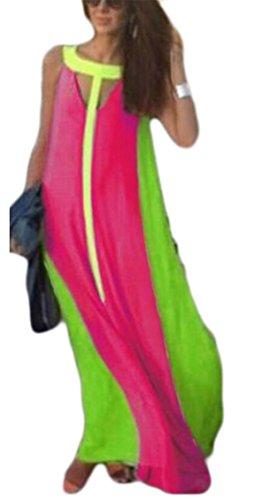 Jaycargogo Femmes Robes De Plage De Mode De Couture De Couleur D'été Sans Manches Maxi Rose Rouge