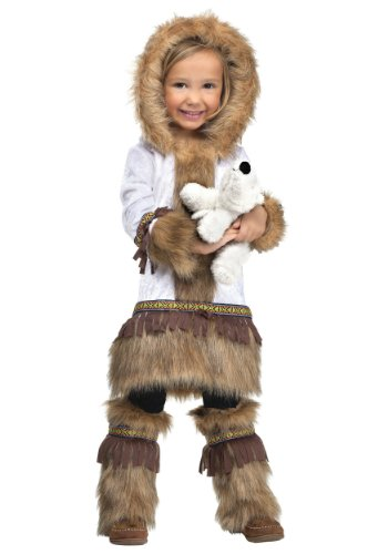Fun World Costumes Baby Girl's Eskimo Toddler Costume, White/Brown, Large 3T - 4T