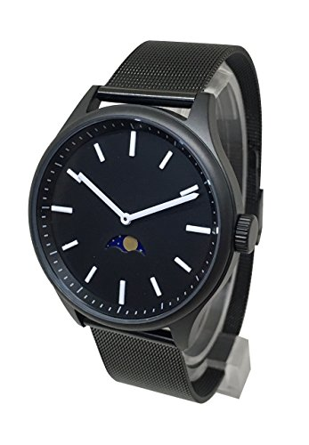 Bauhaus Sky Moonphase Watch - Black Steel Modern Design Moon Age ()