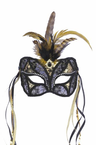 Gras Mardi Costumes Amazon (Forum Mardi Gras Costume Masquerade Mask/Lace With Feathers and Ribbon, Black/Gold, One)