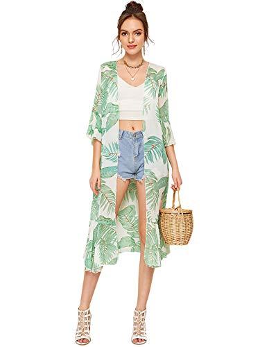 SweatyRocks Women's Flowy Kimono Cardigan Open Front Maxi Dress Green #1 XL (Sleeves Kimono Dress With)