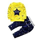 2Pcs/Set Toddler Kids Baby Boy Star Print T-Shirt Tops Denim Pants Outfits Clothes (18-24 Months, Yellow)