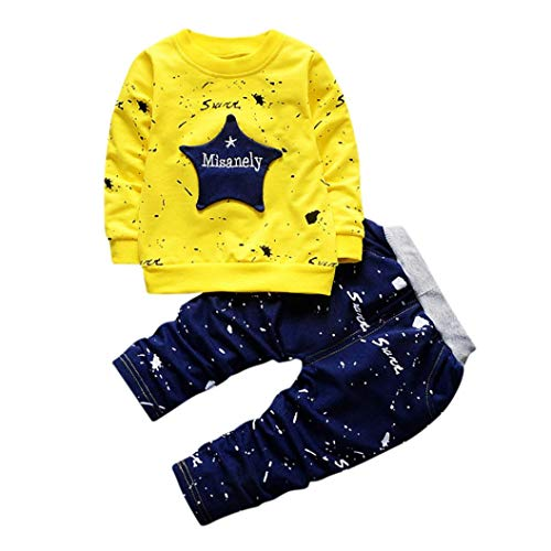 2Pcs/Set Toddler Kids Baby Boy Star Print T-Shirt Tops Denim Pants Outfits Clothes (12-18 Months, Yellow) - Outfits Boys Shirt