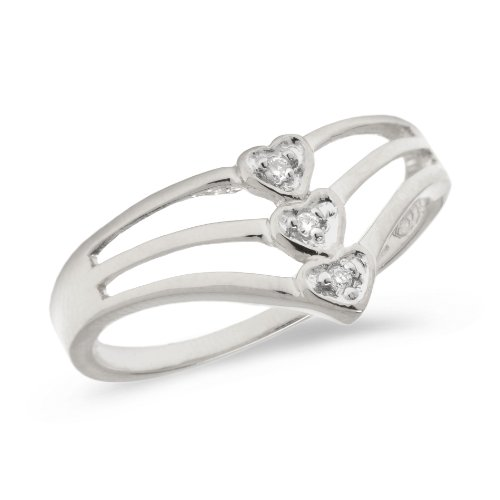 14K White Gold Diamond Heart Ring (Size 8.5)