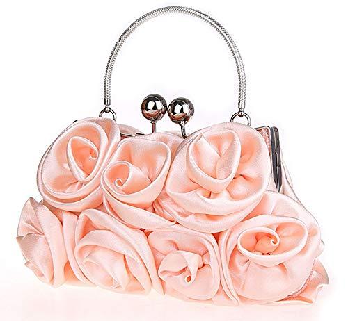 Banquet Bag Silk Evening EDLUX Shoulder 20 Champagne 16cm Buckle Party Metallic 5 Floral Shape Ladies Women Bag for Handbag with Red 06x4qwSHx