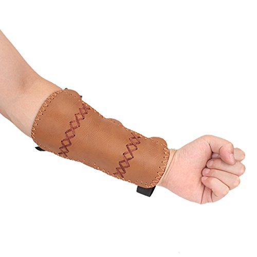Krayney Adult Youth Leather 3-Strap Arm Guard Hunting Shooting Arrow Bow Gear Accessories, Archery Arm Finger Protector (Brown, (Youth))