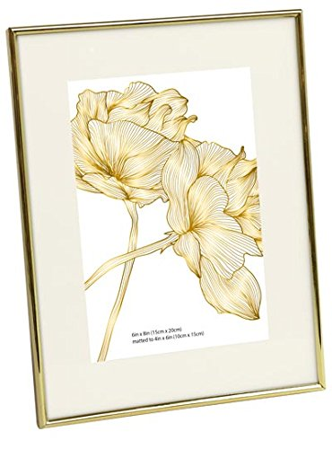 Isaac Jacobs Metallic Picture Frame (6x8 (Matted 4x6), - Gold Jacobs