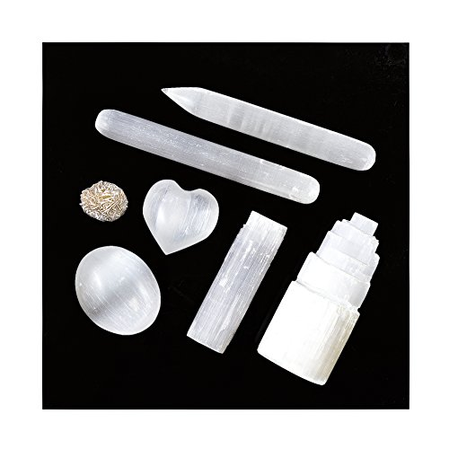 - Beverly Oaks Energy-Infused 7 pcs White Selenite Crystal Complete Set & Healing Kit: 1 Selenite Tower, Palm Stone-1 Oval 1 Heart, 3 Wands-Blunt Pointed and Raw, and 1 Desert Rose