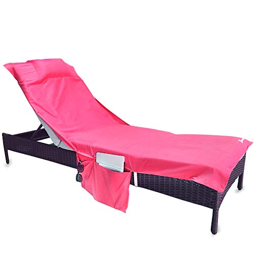YOULERBU Beach Chair Cover Pillow,Pool Lounge Chair Towel Beach Towel Convenient Storage Pockets, 78'' L x 31'' W by YOULERBU