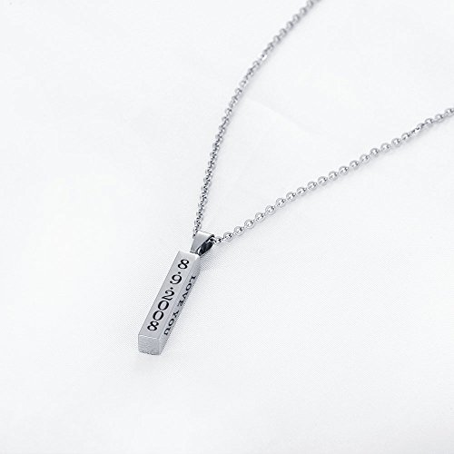diamondidde Personalized Custom Message Names Pendant Necklace Unisex Stainless Steel Vertical Cuboid Bar Necklace (Silver) by Diamondido (Image #3)