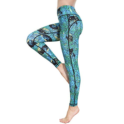 Witkey Women Yoga Pants Printed Yoga Leggings High Waist Power Flex Capris Workout Leggings for Fitness Running