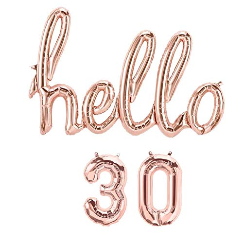 Hello 30 Props Decoration Rose Gold Balloons, 30TH Birthday Banner Balloon Birthday Party Backdrop Banner -