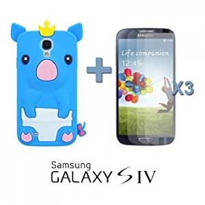 Bloutina OnlineBestDigital - Piggy Style Silicone Case for Samsung Galaxy S4 IV I9500 / I9505 - Blue with 3 Screen Protectors...