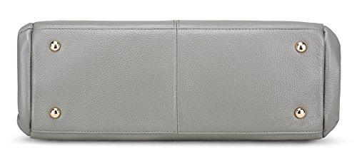 Top Capacity Vintage AINIMOER Leather Genuine handle Crossbody Purse Womens Gray Large Bag Tote Handbags Ladies' Shoulder wnnW07x