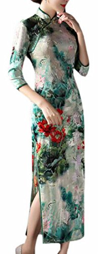 Womens Chinese Silk Cheongsam Dress - 7