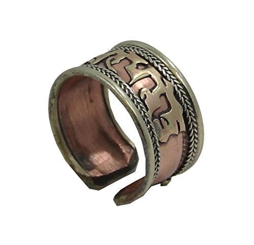 DharmaObjects Handmade Copper and Brass Ring with Crafted Om Mani Padme Hum