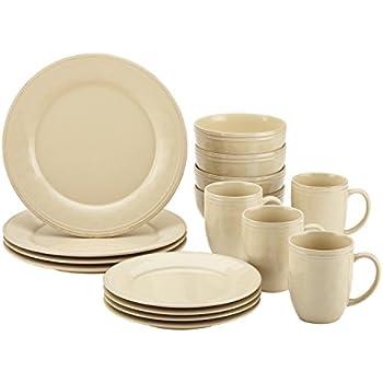 Rachael Ray 55094 Cucina Dinnerware 16-Piece Stoneware Dinnerware Set Almond Cream  sc 1 st  Amazon.com & Amazon.com: Rachael Ray 55094 Cucina Dinnerware 16-Piece Stoneware ...