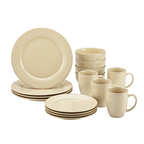 Rachael Ray Cucina Dinnerware 16-Piece Stoneware Dinnerware Set, Almond Cream