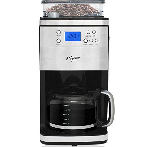 Grind and Brew Automatic Drip Coffee Maker with Multiple Coarse to Fine Options & Multi Brewing Modes and Settings - Stainless Steel - 12 Cup - By Keyton