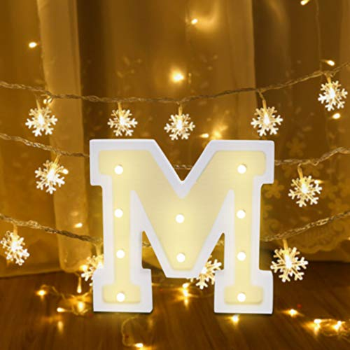 (Fine LED Marquee Letter Lights Sign 26 Alphabet Light Up Marquee Letters Sign for Night Light Wedding Birthday Party Battery Powered Christmas Lamp Home Bar Decoration (M))