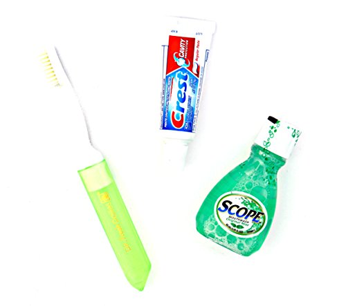 Dental Travel Kit - Crest Toothpaste - Scope - Toothbrush with Case, 3-Pack