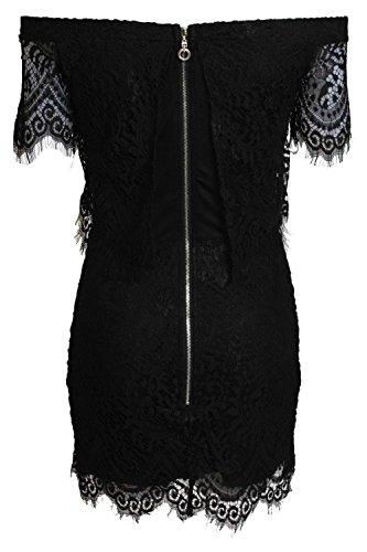 Pilot Mini vestido en capas de pestañas de encaje Bardot en Negro Negro