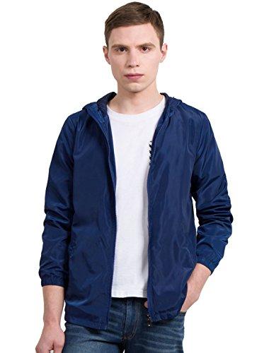 Allegra K Men Zippered Hooded Jacket Navy Blue S (Zippered Windbreaker)
