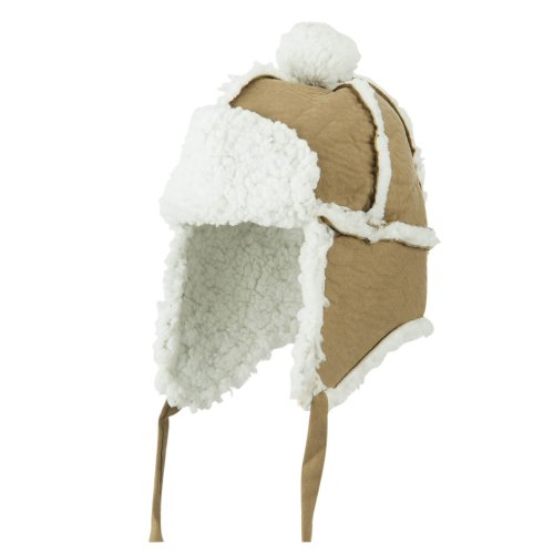 Boys' Pom Pom Polyester Trooper Hat - Brown OSFM