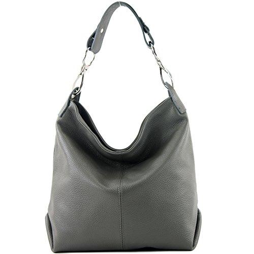 modamoda Leather ital bag Dark bag T168 Leather Ladies bag Shoulder de Gray bag Shoulder E4q4rx