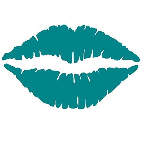 Kiss Wall Decal Sticker - Kissing Lips Decoration Mural - Decal Stickers and Mural for Kids Boys Girls Room and Bedroom. Kiss Teal Wall Art for Home Decor and Decoration - Silhouette Mural (Teal Wall Ideas)