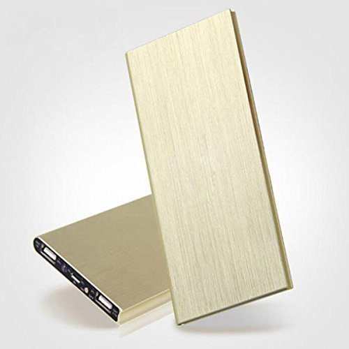 Power Bank,Ultra-thin Metal Case 20000mAh Dual USB Polymer Battery Charger with LED Light Golden