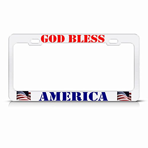 GOD Bless America White License Plate Frame Patriotic USA Metal Tag Border Perfect for Men Women Car garadge Decor