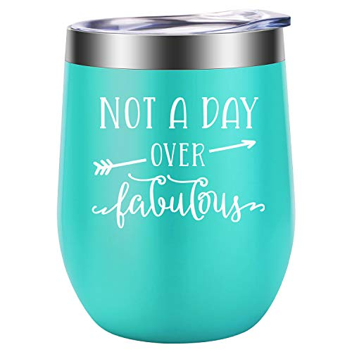 Not a Day Over Fabulous - Fun Birthday Gifts for Women - Funny Birthday Wine Gift Ideas for Her, Best Friend BFF, Mom, Grandma, Wife, Daughter, Sister, Aunt, Coworker - LEADO Birthday Wine Tumbler ()