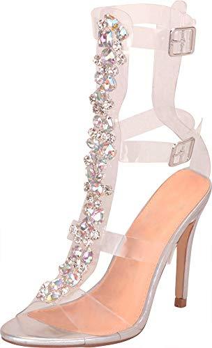 Cambridge Select Women's Clear See-Through Crystal Rhinestone Stiletto High Heel Gladiator Sandal,9 B(M) US,Silver