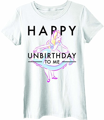 Disney Alice in Wonderland Happy Unbirthday Juniors T-Shirt ... (Medium, White)