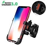 BlueFire Motorcycle Phone Mount IPX6 Waterproof Cell Phone Holder 360°Adjustable Motorbike Handlebar Phone Holder with QC 3.0 USB Charger Socket for iPhone 8/X/XR/XS/Max Samsung S7/S8/S9 Huawei