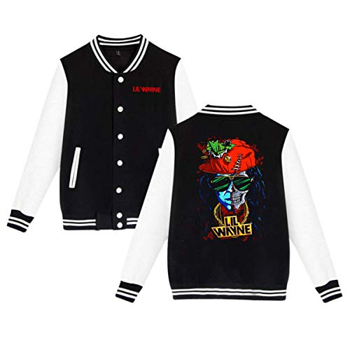 X Q X Baseball Uniform Jacket Sport Coat, Lil Logo Wayne Cotton Sweater for Women Men Boy Girls Black]()