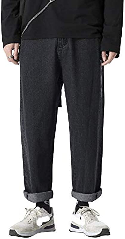 Jean Slim Taper Fit męskie jeansy na wiosnę i lato, japońskie uliczne, hip-hop, z szerokimi nogawkami, luźne, proste spodnie Plus Size Cropped: Odzież