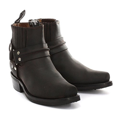 Grinders Nouveaux Renegade cheville marron Riding Cowboy Boots avec Three Way cheville Strap Conception