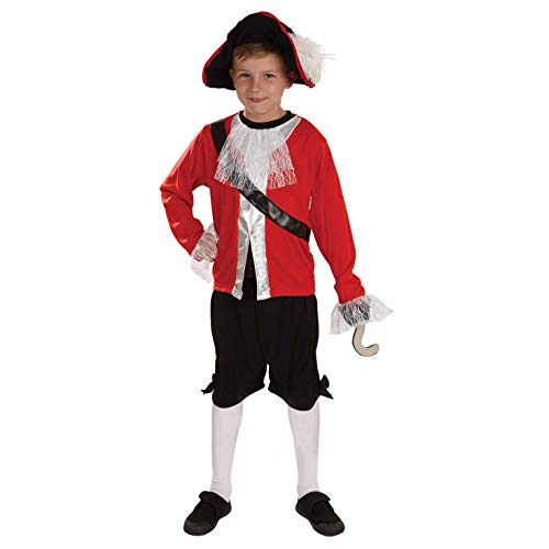 fun shack Childrens Pirate Captain Costume Boys Red Hook Fairy Tale Kids Outfit - Large