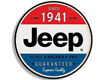 Jeep Magnets - MAGNET Round Vintage JEEP Since 1941 Magnet(wrangler logo old rat rod) 4 x 4 inch