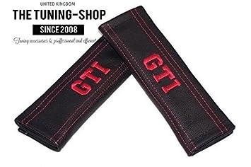 2/x Sicherheitsgurt Bez/üge Pads Schwarz Schultertasche Leder Rot GTI Edition Stickerei