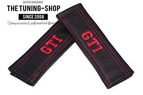 2 x Sicherheitsgurt Bezü ge Pads Schwarz Leder rot Stickerei GTI The Tuning-Shop