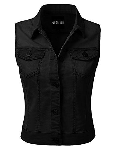 DRESSIS Womens Casual Sleeveless Denim Jean Cropped Vest Jacket BLACK ()
