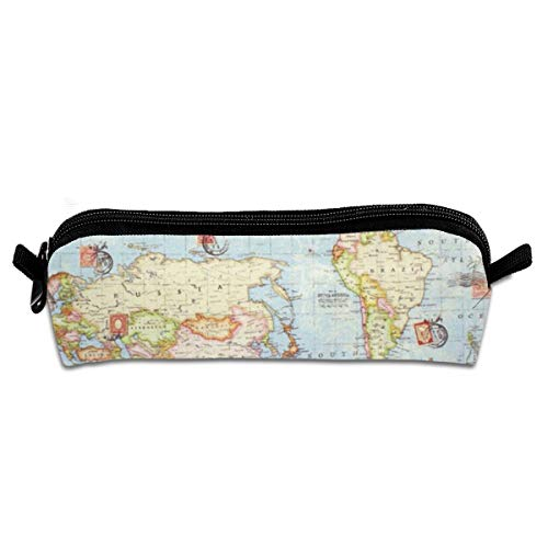 Atlas Travel Case (Atlas World Map Blue Travel Pencil Bag Pen Case, Students Stationery Pouch Zipper Carrying Case for Pens, Pencils Drawing Painting Children - High Capacity Toiletry Bag)