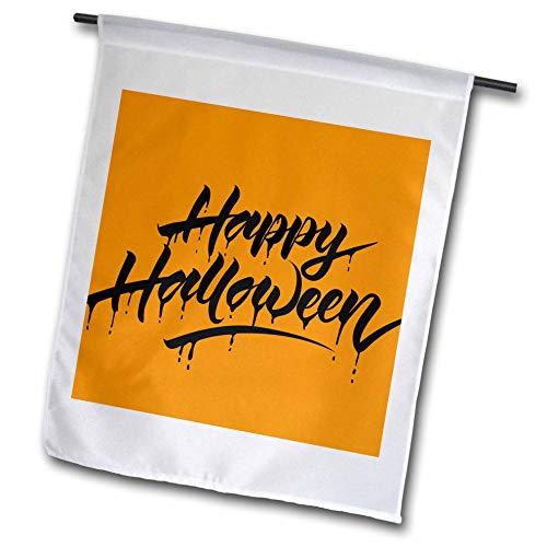3dRose Sven Herkenrath Celebration - Scary Happy Halloween Quotes with Orange Background - 12 x 18 inch Garden Flag -
