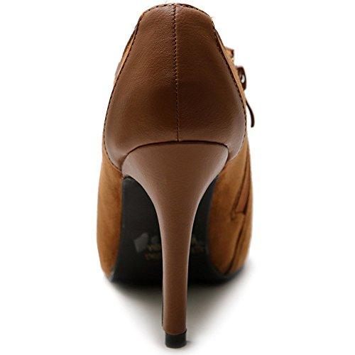 Multi Finto Scamosciato Donne Colore Marrone Delle Tallone Zip Caviglia Ollio Scarpa 4wgaSC0qS